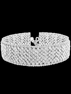 Geometric Rhinestone Wide Choker - Silver