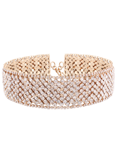 Geometric Rhinestone Wide Choker - Golden