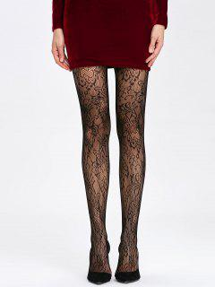 Crochet Lace See Through Collant - Noir