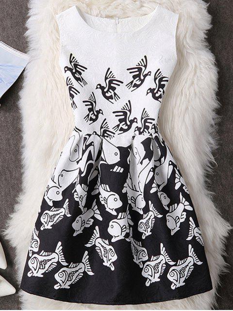 Vogel und Fisch-Druck- ärmelloses Minikleid - Weiß & Schwarz L Mobile