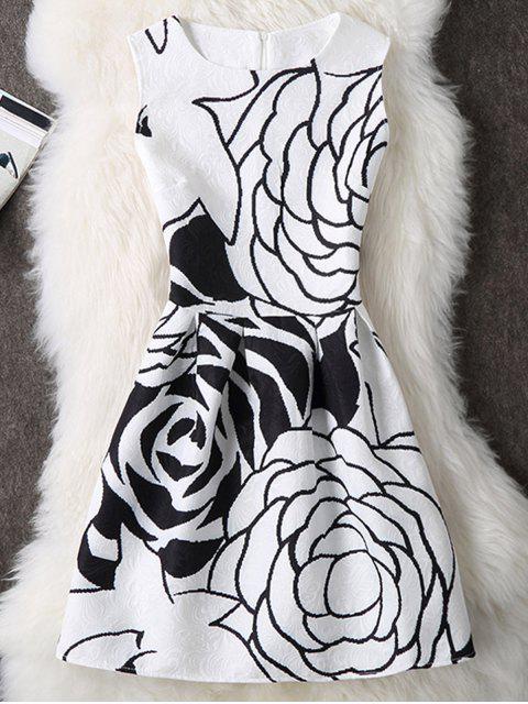 Rose -Drucken ärmelloses A- Linie Kleid - Weiß M Mobile