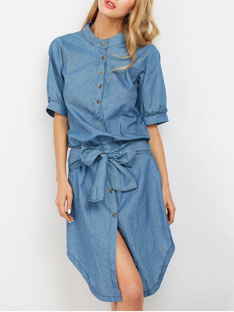 hot Casual Asymmetric Denim Dress - LIGHT BLUE M Mobile