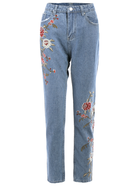 ladies Retro Floral Embroidered Jeans - LIGHT BLUE XL Mobile