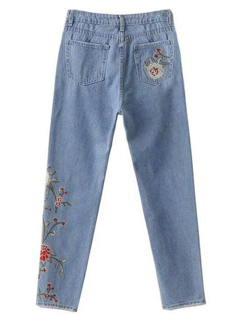 lady Retro Floral Embroidered Jeans - LIGHT BLUE L Mobile