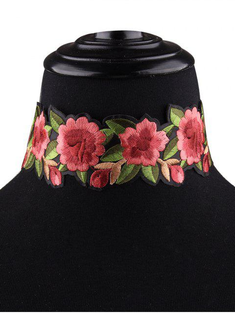 fancy Embroidered Choker Necklace - RED  Mobile