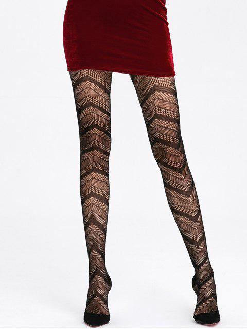 best Striped See Thru Tights - BLACK ONE SIZE Mobile