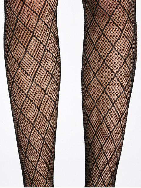 Bas résille see through de plaid - Noir TAILLE MOYENNE Mobile