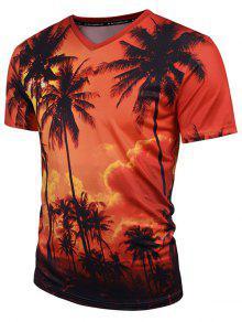 شجرة جوز الهند طباعة الخامس الرقبة هاواي المحملة - البرتقالي M