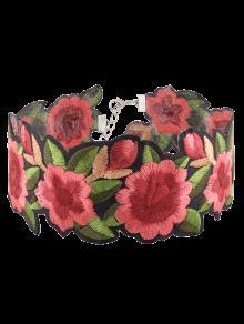 Collier Ras De Cou à Fleur Brodé - Rouge