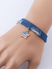 العلم الأميركي ستار الدينيم سحر سوار - ازرق