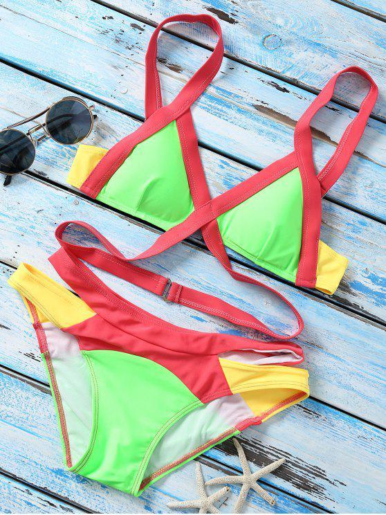 fancy Strappy Color Block Banded Bikini Set - NEON BRIGHT GREEN L