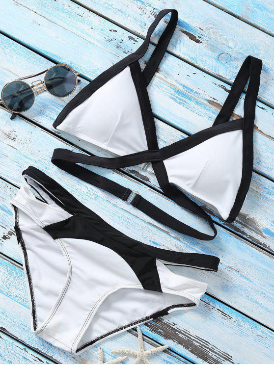 affordable Strappy Color Block Banded Bikini Set - WHITE L