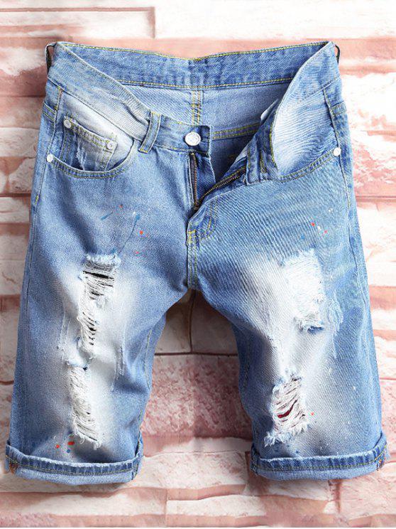 Bermuda Jeans Rasgado Com Pingos de Tinta - Azul Denim 30