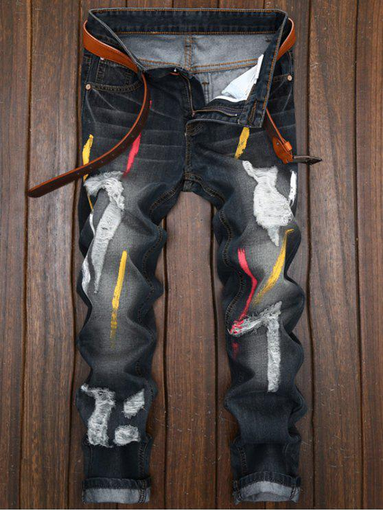 affordable Colored Painted Destroyed Straight Leg Jeans - BLACK 36
