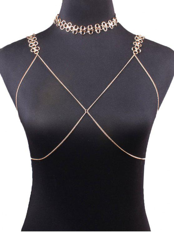 fashion Geometric Vintage Bra Body Chain and Necklace - GOLDEN