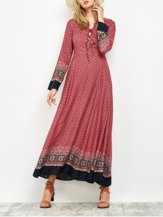 online Long Sleeve Lace Up Maxi Dress - RED 2XL