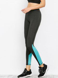Colorblock Sporty Running Leggings - Black