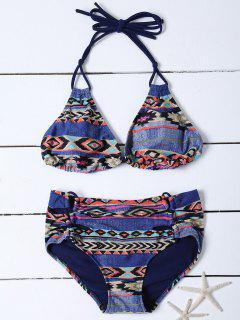 Tribal Print Chambray Bikini - Denim Blue L