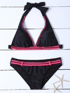 Rayas Halter Bikini De La Correa - Negro Xl