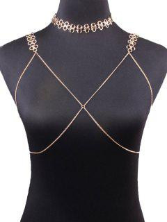 Geometric Vintage Bra Body Chain And Necklace - Golden