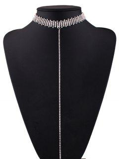 Alloy Rhinestoned Necklace - Silver