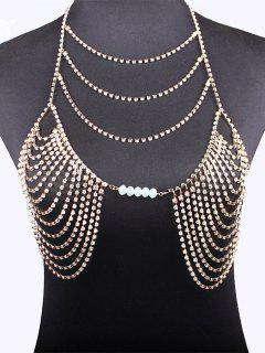 Beads Rhinestone Bra Body Chain - Golden