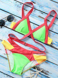 Strappy Color Block Banded Bikini Set - Neon Bright Green L