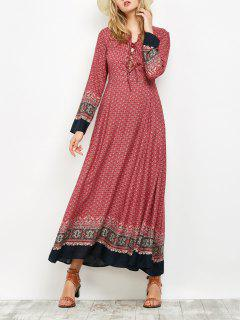 Long Sleeve Lace Up Maxi Dress - Red S