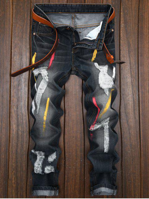 affordable Colored Painted Destroyed Straight Leg Jeans - BLACK 36 Mobile
