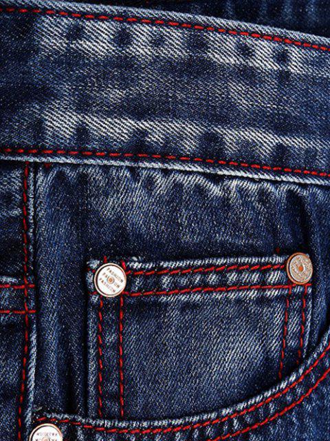 shops Patches Straight Leg Jeans - DENIM BLUE 40 Mobile