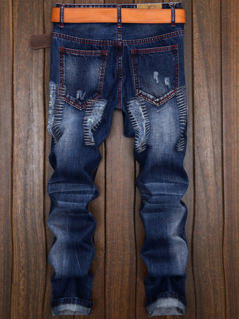 women Patches Straight Leg Jeans - DENIM BLUE 30 Mobile