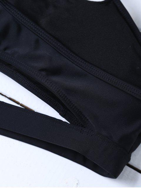 trendy Padded One Shoulder Bikini - BLACK S Mobile