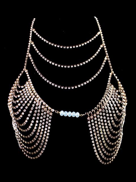 lady Beads Rhinestone Bra Body Chain - GOLDEN  Mobile