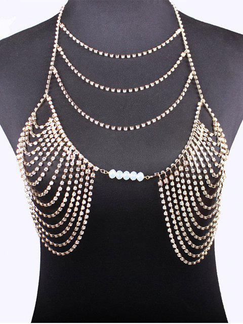 lady Beads Rhinestone Bra Body Chain -   Mobile