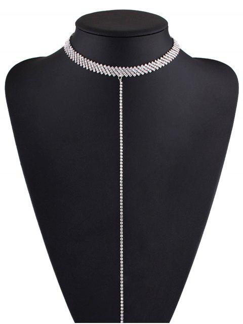 Alloy Strass Halskette - Silber  Mobile