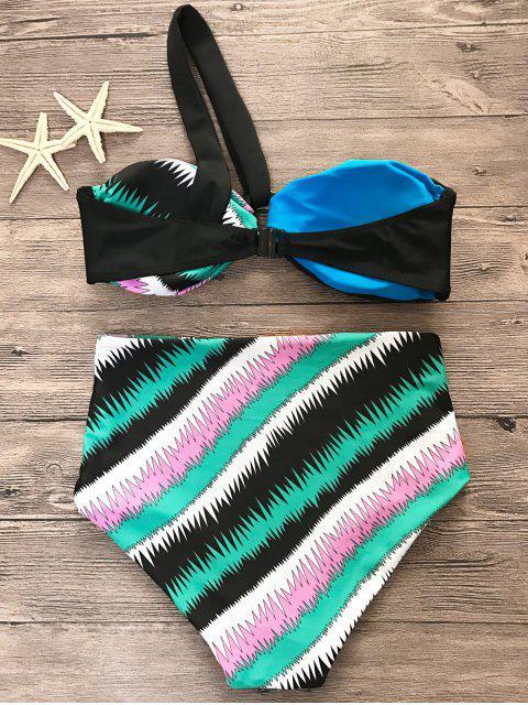 outfit Printed One Shoulder High Waist Bikini Set - MULTICOLOR XL Mobile