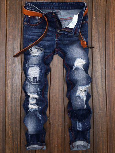 Jeans Corte Recto Y Parches - Azul Denim 34