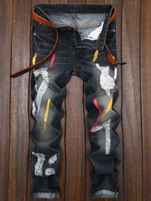 ملون رسمت دمرت مستقيم الساق الجينز - أسود 36
