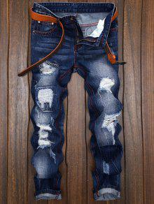 جينز بنمط ممزق - ازرق 32