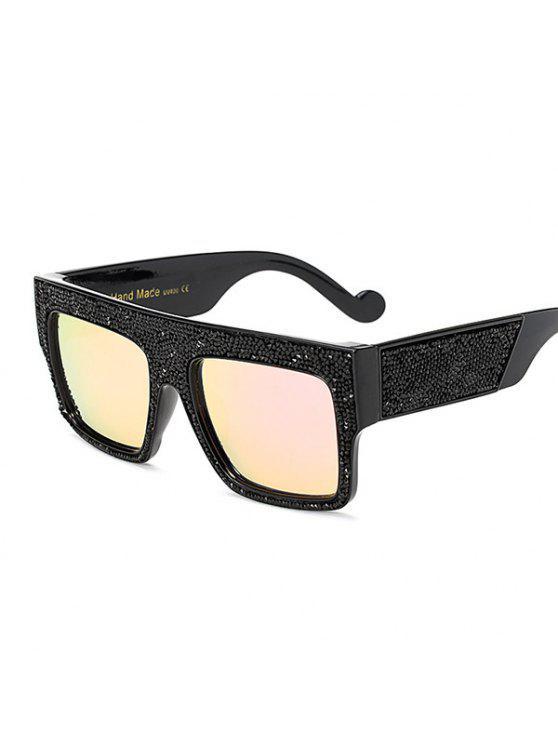 85c6e80a3 حجر الراين الإطار واسعة مرآة مرآة النظارات الشمسية كبيرة الحجم - وردي فاتح