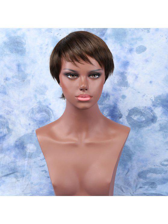 ساقط عميق براون أولتراشورت الجانب بانغ المرأة شعر مستعار الاصطناعية الشعر - براون العميق
