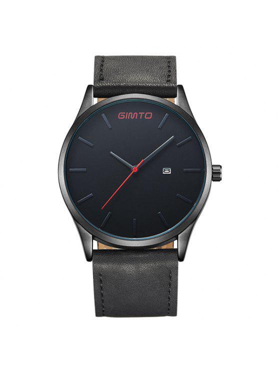 جيمتو ساعة يد جلدية من الجلد التاريخ انالوج - أسود