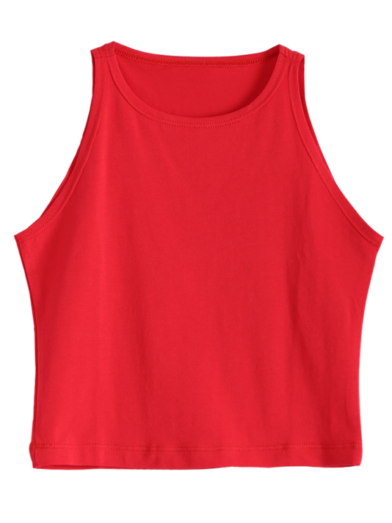 71248c18cc323e 28% OFF  2019 Cropped Ribbed Tank Top In RED
