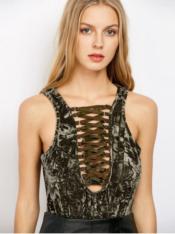 Lace Up Velvet Bodysuit - Vert Armée L