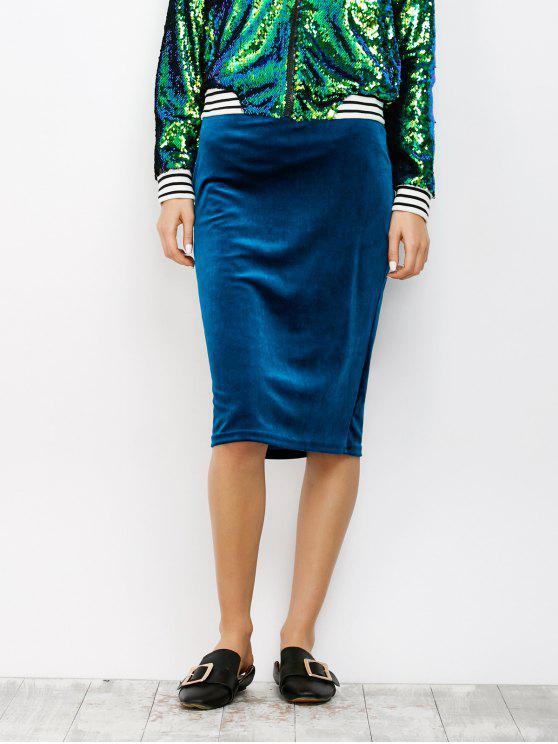 Jupe de longueur à genoux en velours - Bleu XL