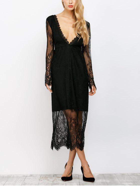 trendy See Thru Low Cut Lace Maxi Dress - BLACK L