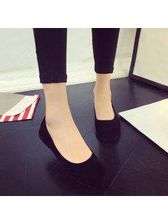 Square Toe Slip On Flat Shoes - Black 39
