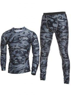 Camo T-Shirt And Elastic Waist Gym Pants Twinset - Gray Xl