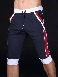 Pantalones Cortos Con Cordones De Color Block Sport Jogging - Azul Marino  S