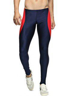 Skinny Color Spliced Elastic Waist Gym Pants - Deep Blue L